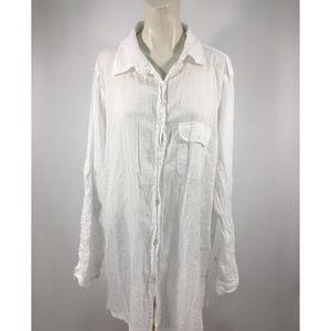 Lauren Ralph Lauren Sheer Button Down Shirt Top